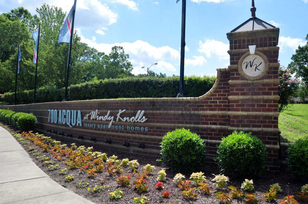 Entrance Feature at 700 Acqua in Newport News