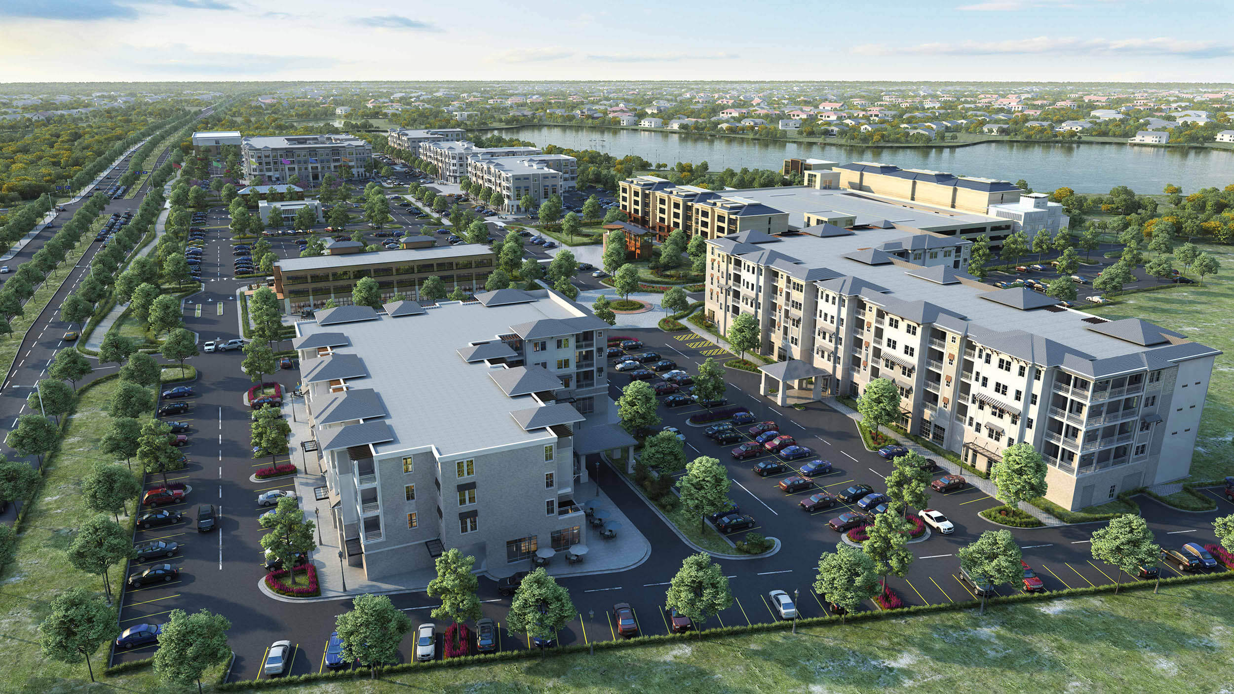 An overhead render of the Royal Sail Apartments for Seniors