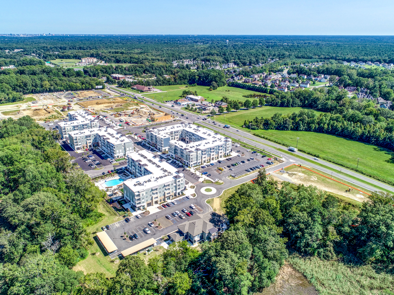 Aerial view of apartments in Suffolk Virginia on Bridge Road